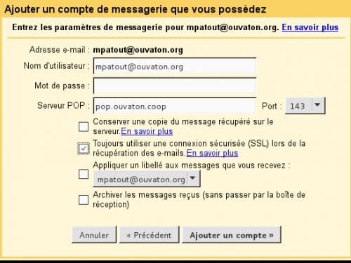 Configuration d'un compte POP sur Gmail