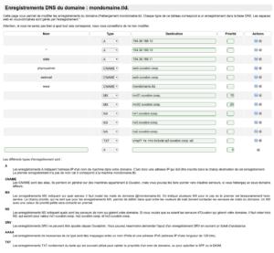 Modifier les enregistrements DNS