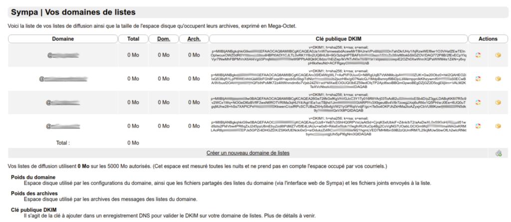 Exemple d'affichage des clés DKIM
